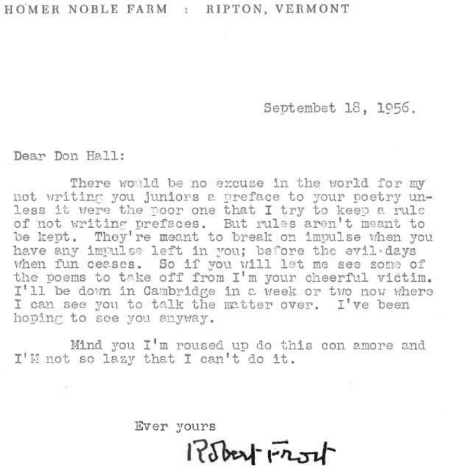 Robert Frost Letter To Donald Hall