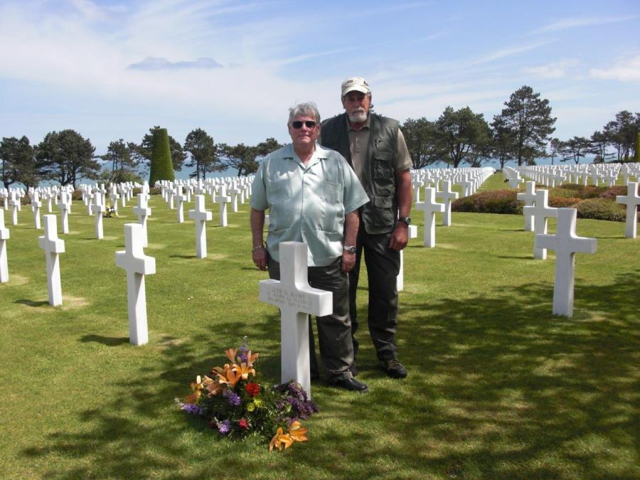 Dr. Carl Trusler and his buddy Captain Dan L. Cain, U.S. Navy, Retired: Two Former Navy Fighter Pilots Paying Their Respects At Normandy, May, 2013
