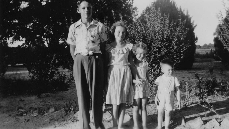 Four Cousins (1948? 1949?) Left to Right: Aubrey Douglas Gearner, Jr., Sandra Gearner Justice, Brenda Gilbreath Waterman, The Kid