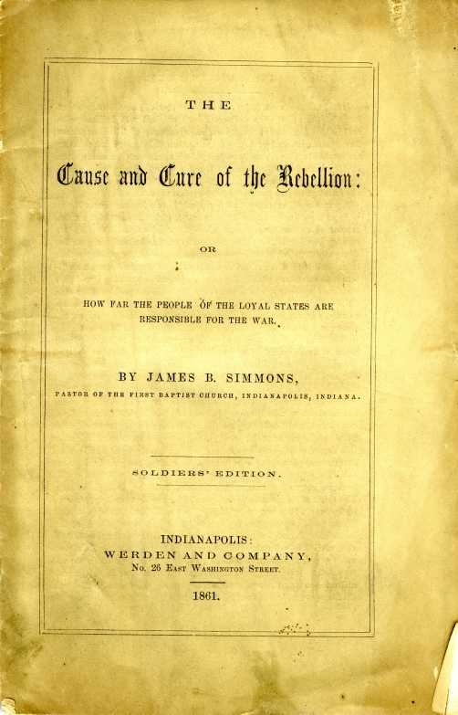 "Title Page ""Cause and Cure of the Rebellion"""